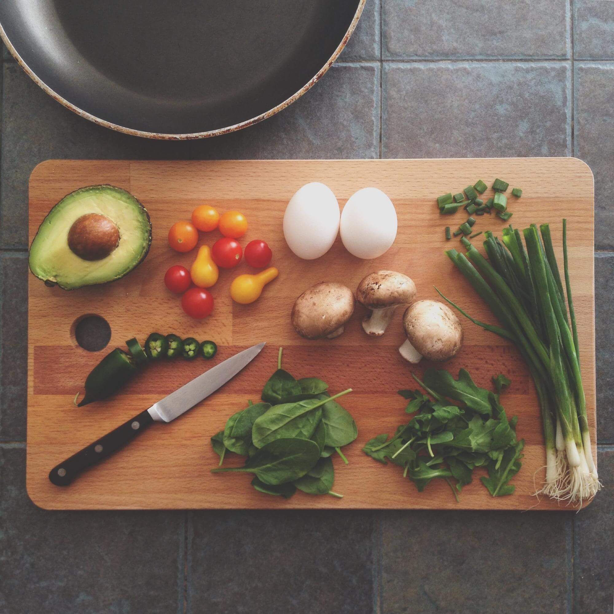 simple ingredients placed on a cutting board
