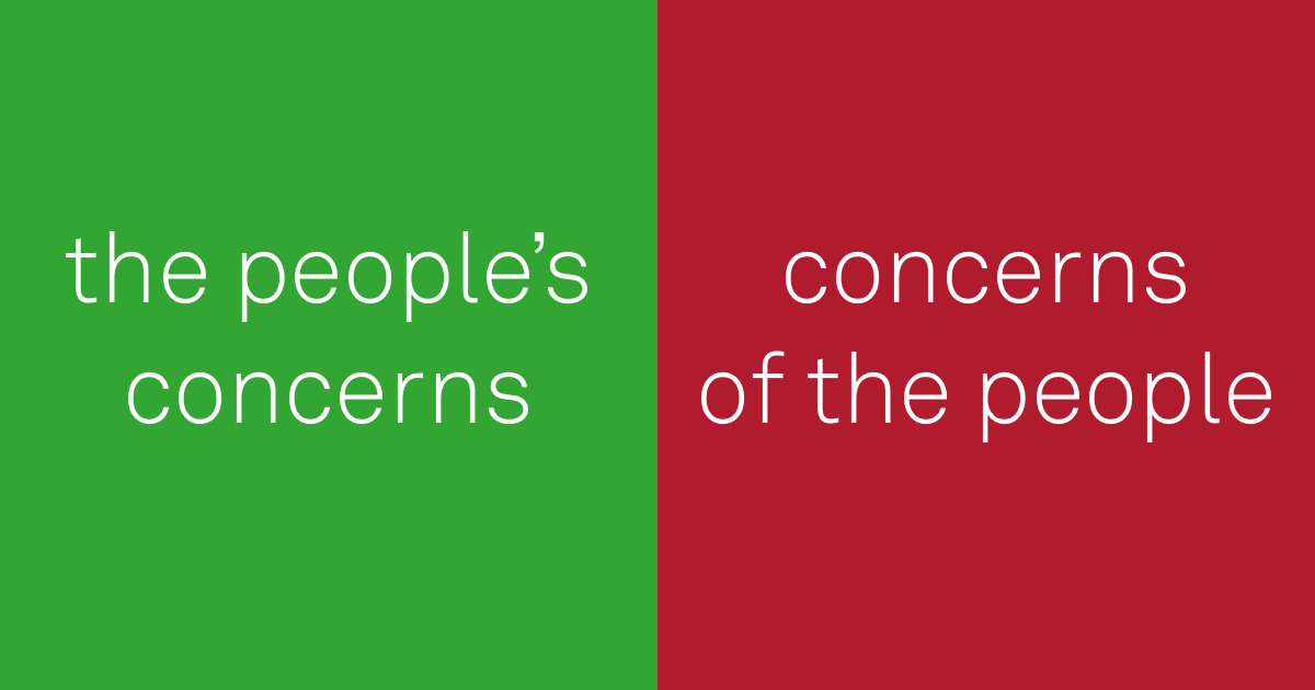 do: the people's concerns. don't: the concerns of the people.