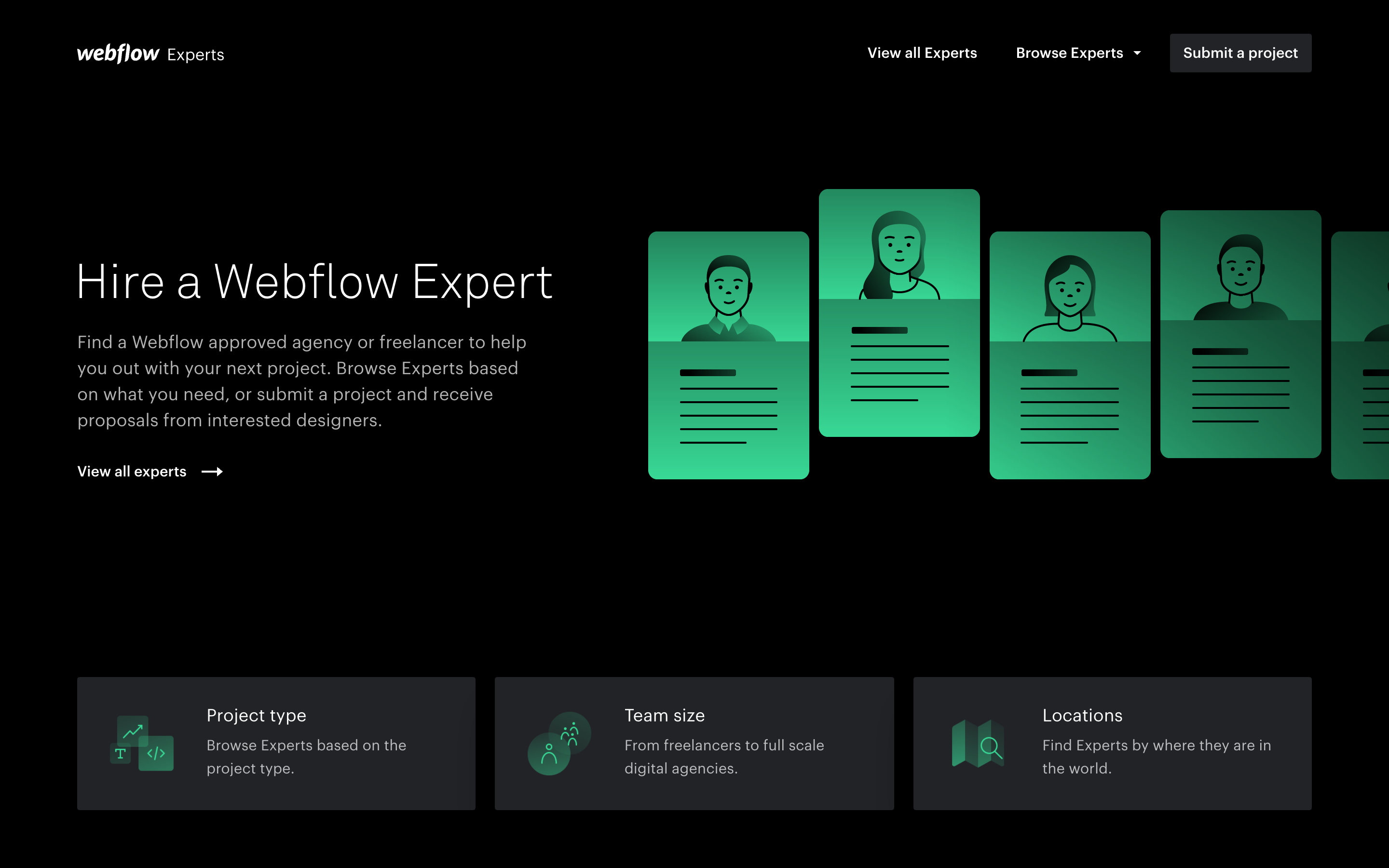Webflow Experts home page.