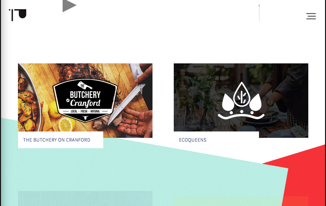 Slanted background graphics on Presentations's website
