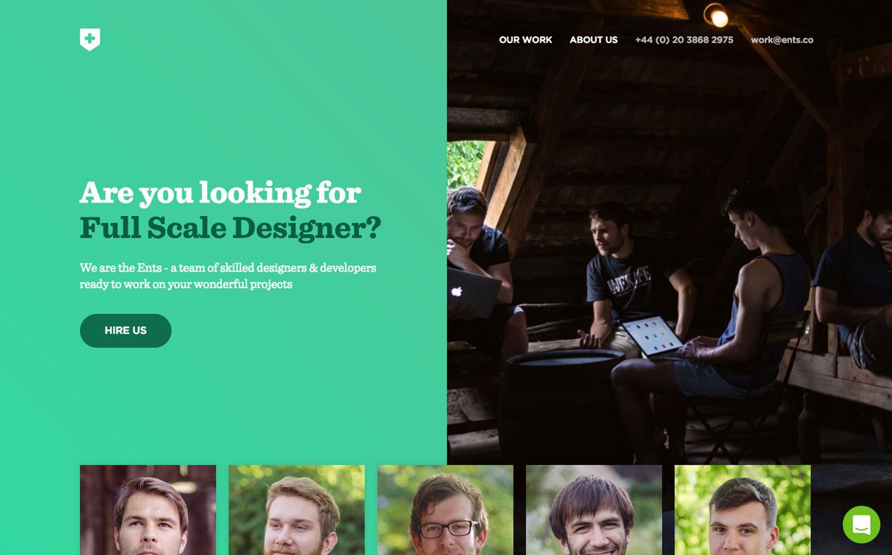 Greenwood Ents agency website homepage