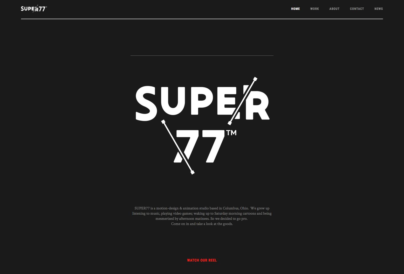 Super77 agency website homepage