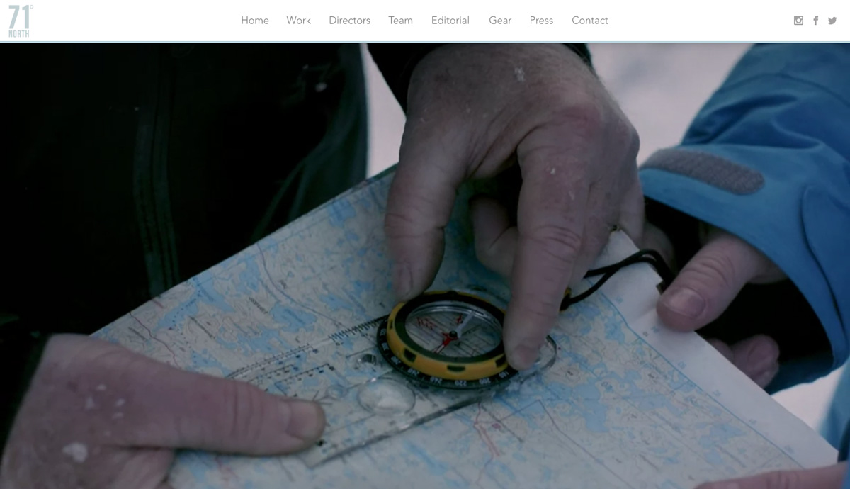 71 Degrees North agency website homepage