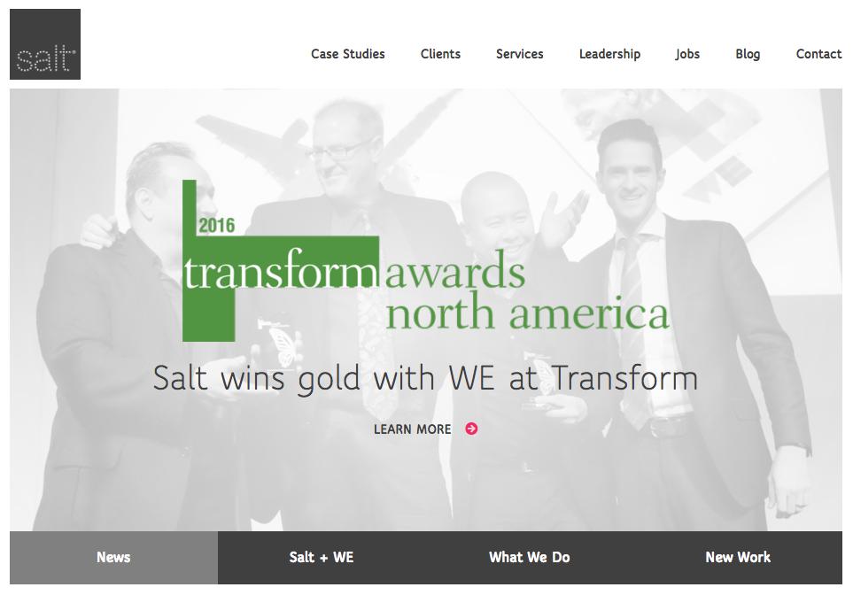 Salt agency website homepage