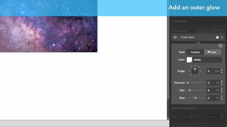 Adding an outer glow to an element in Webflow