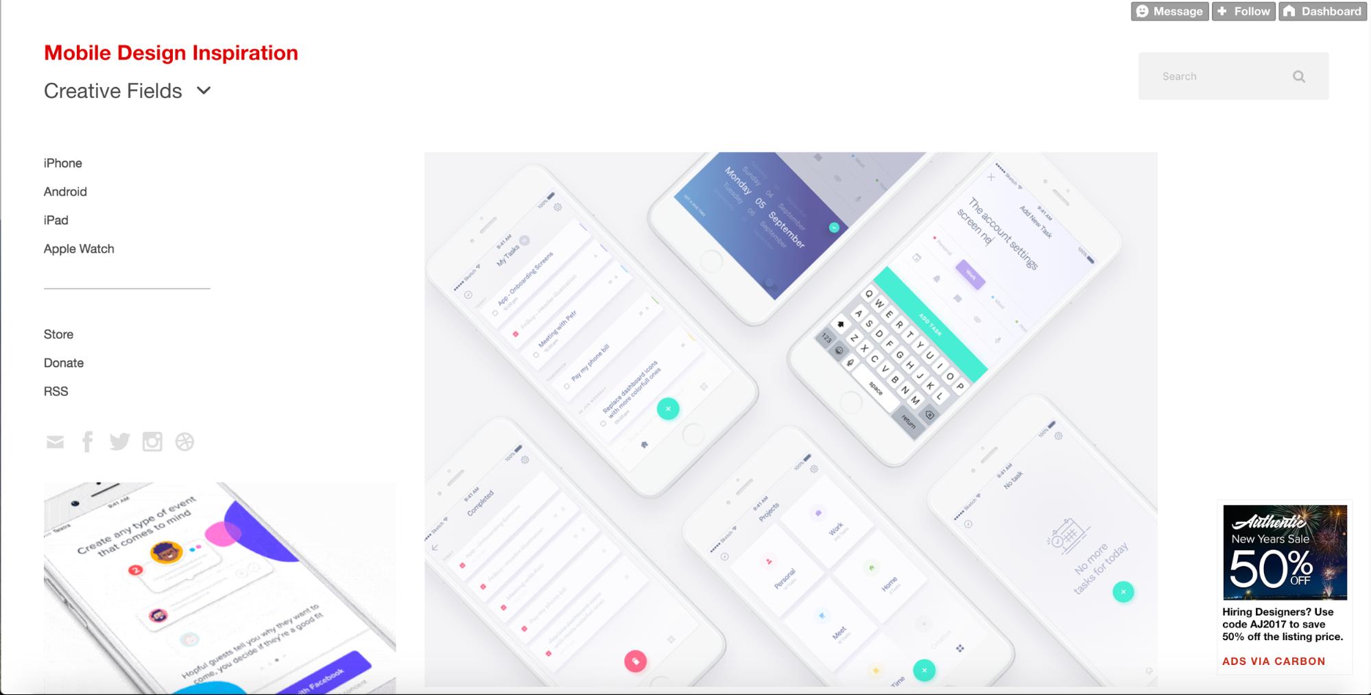 Mobile Design Inspiration homepage