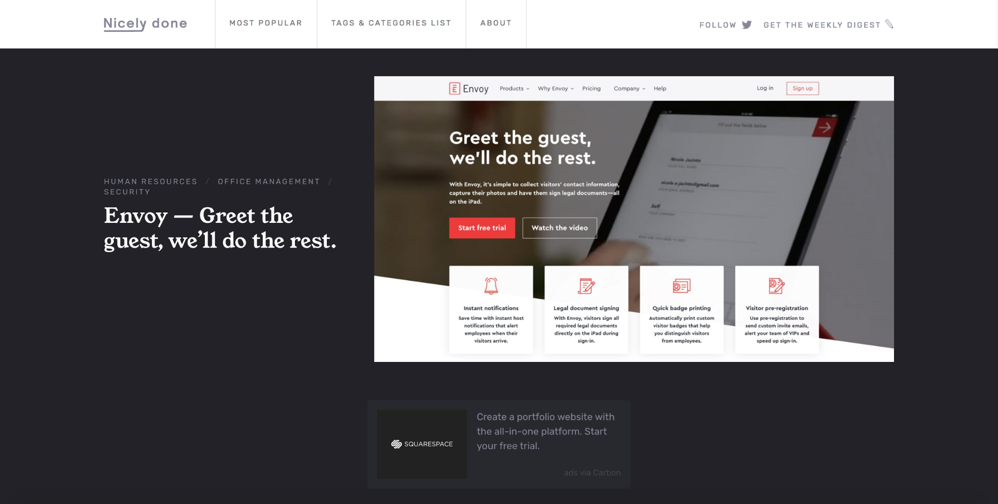 Nicely done web design inspiration site