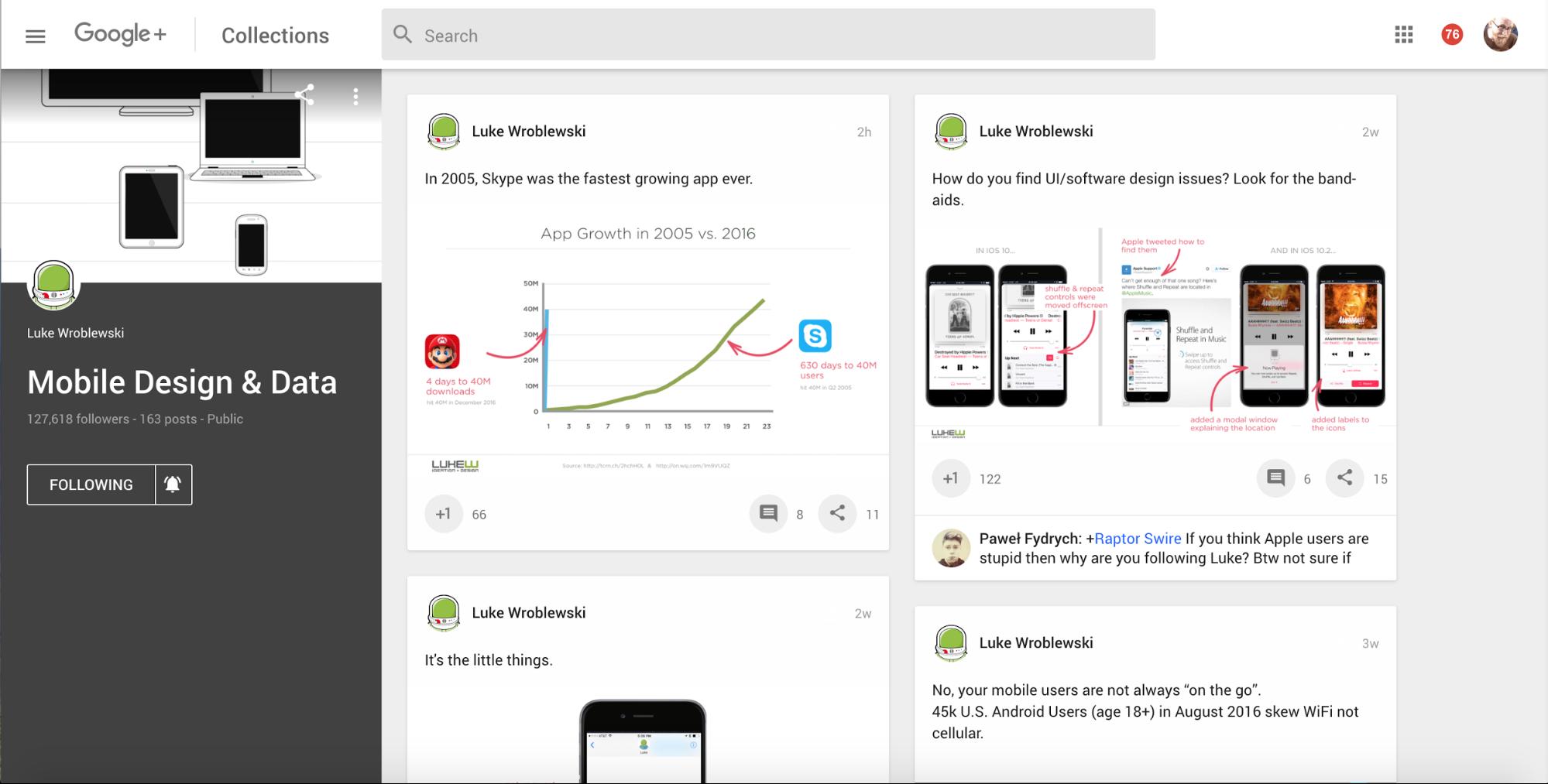 Mobile Design & Data Google+ Collection