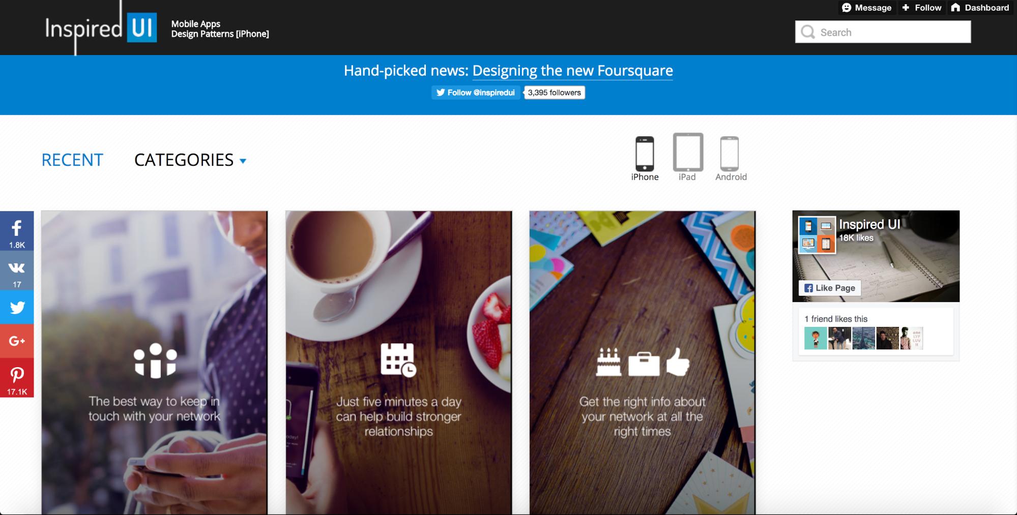 Inspired UI mobile design pattern site