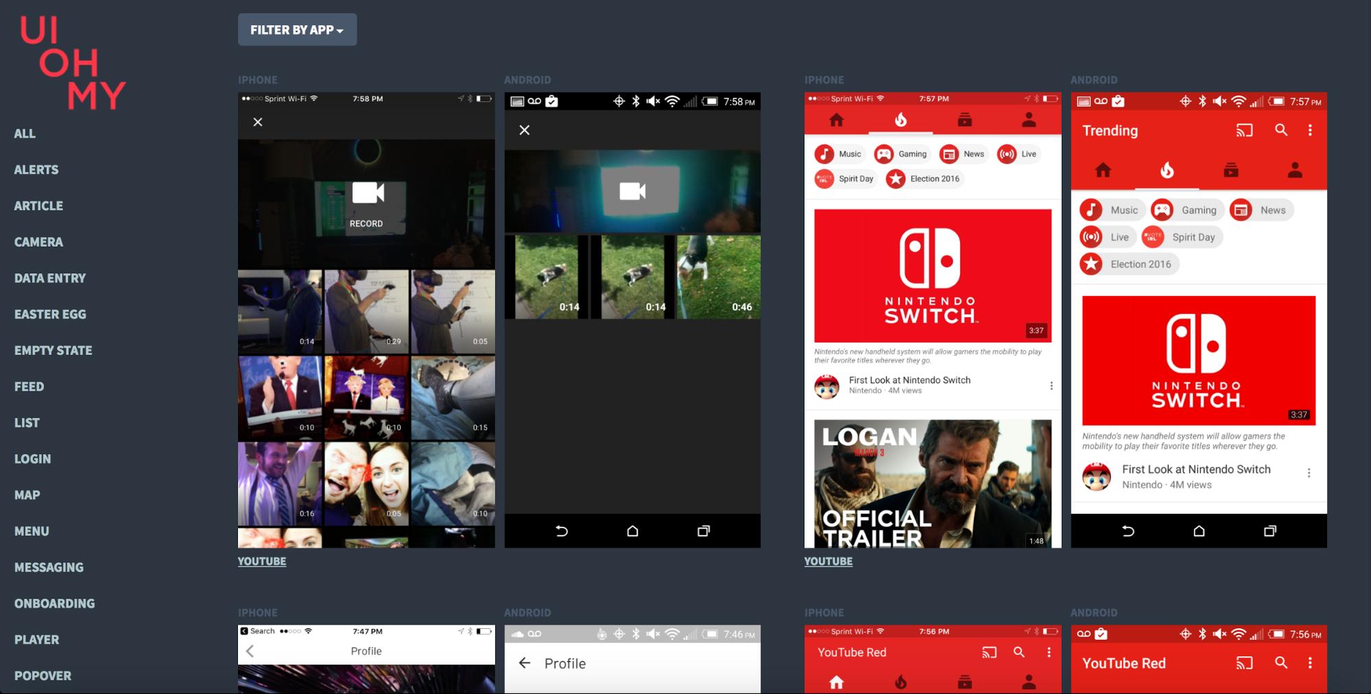 UI OH MY mobile app design site
