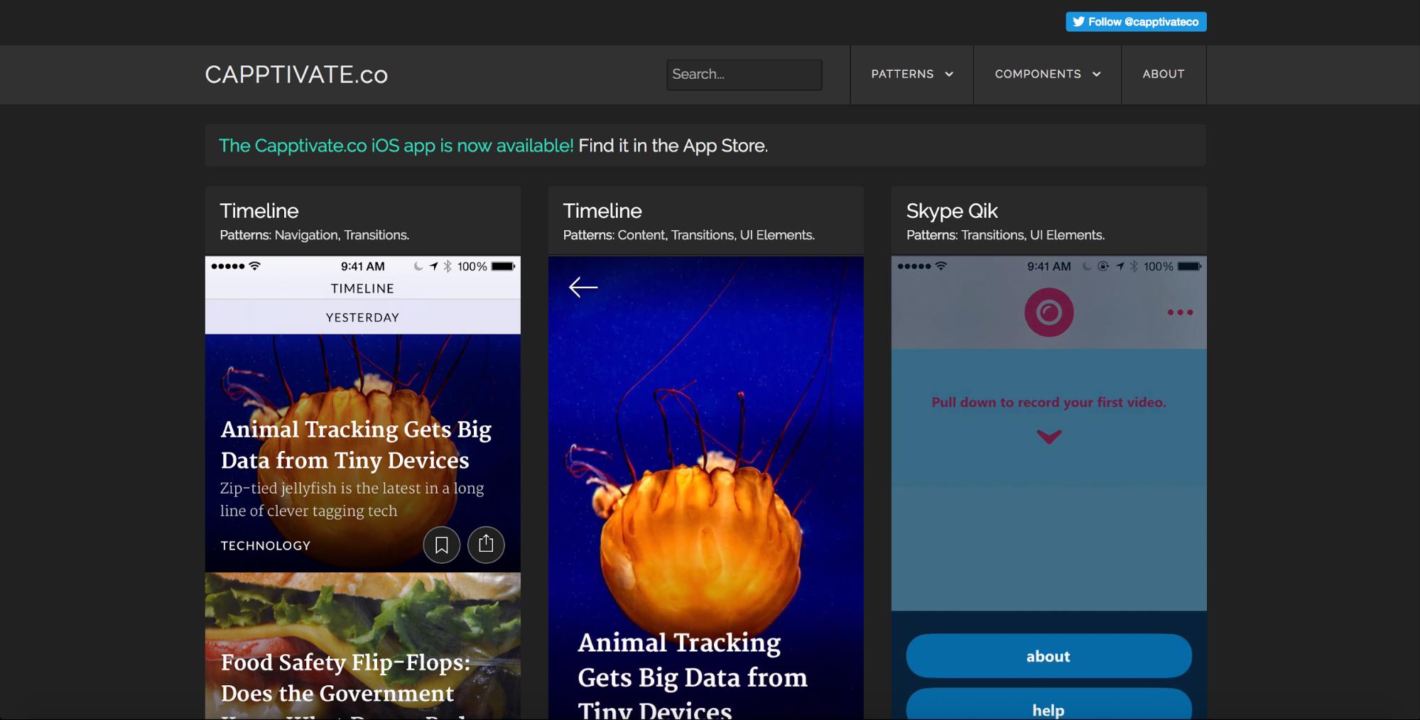 Capptivate mobile design inspiration site