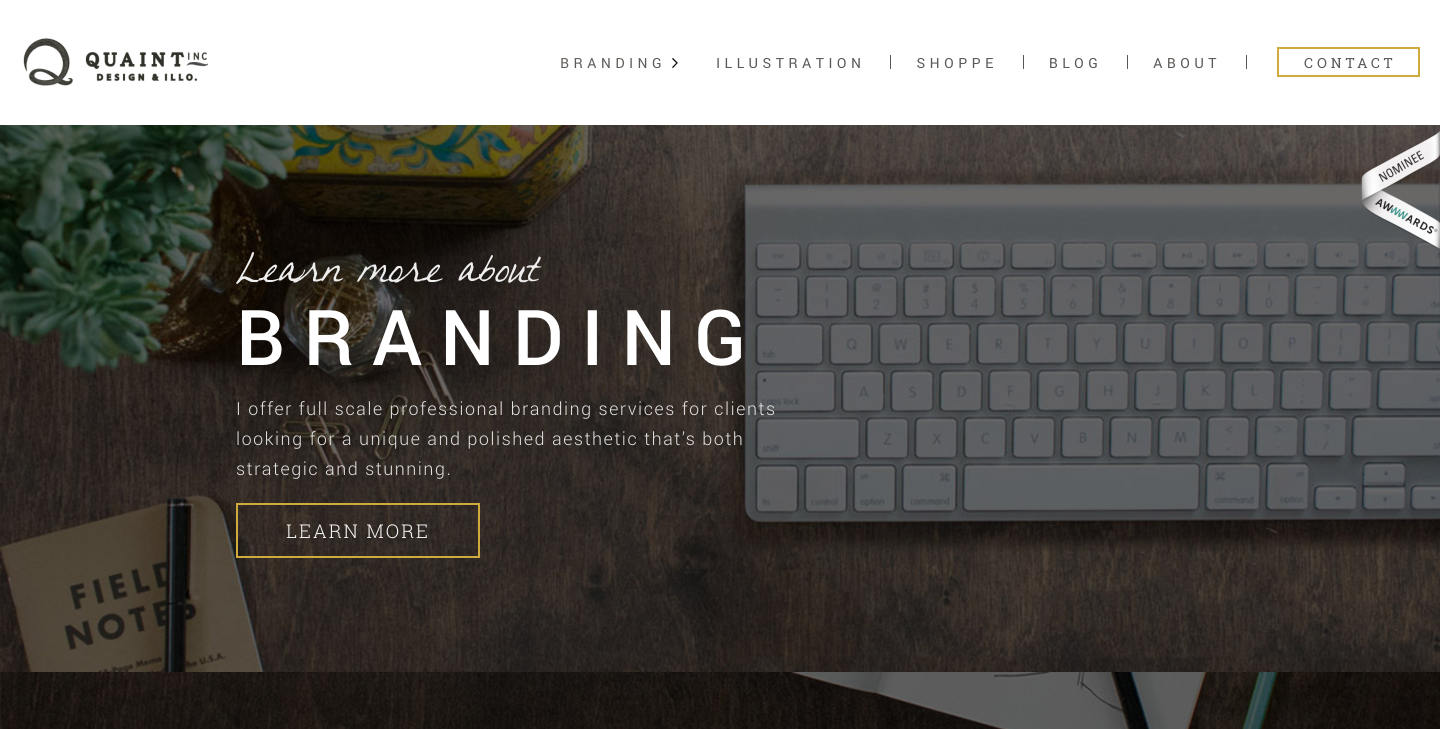 Quaint Inc. freelance portfolio website homepage