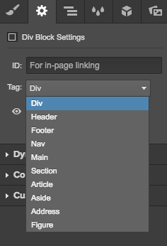 Adding HTML5 tags in the Settings tab of the Designer
