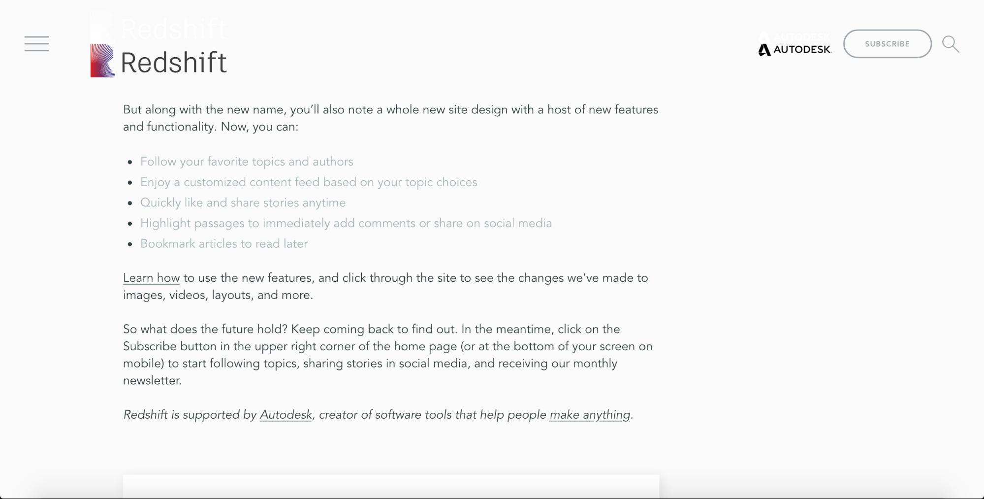 Redshift blog's customization options