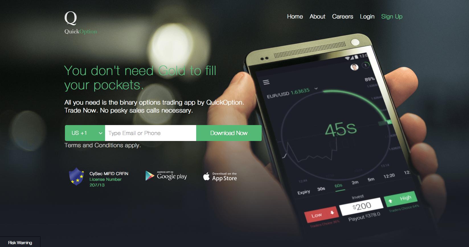 Quick Option app website