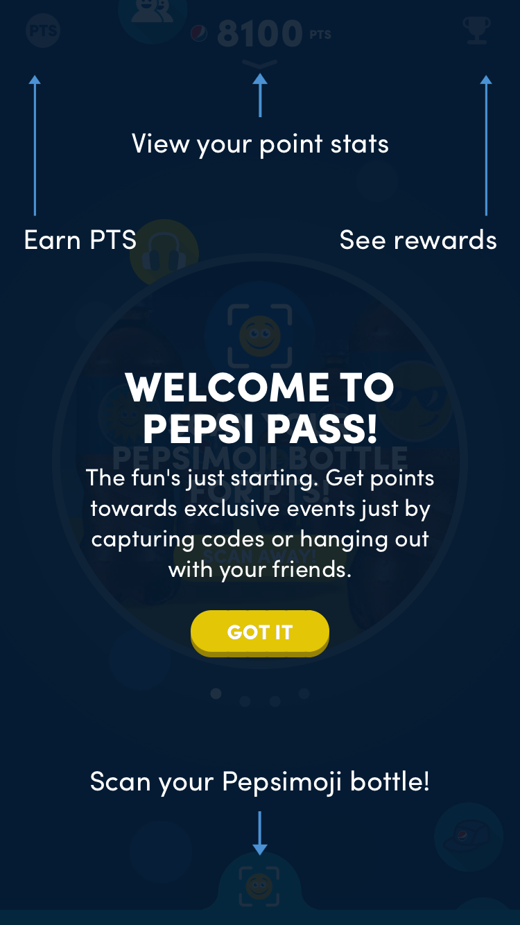 Pepsi Pass mobile app