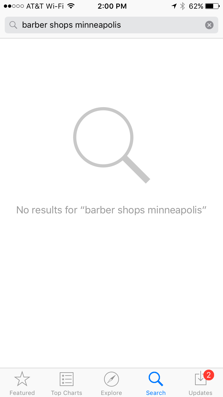 """App Store search page: No results for """"barber shops minneapolis"""""""