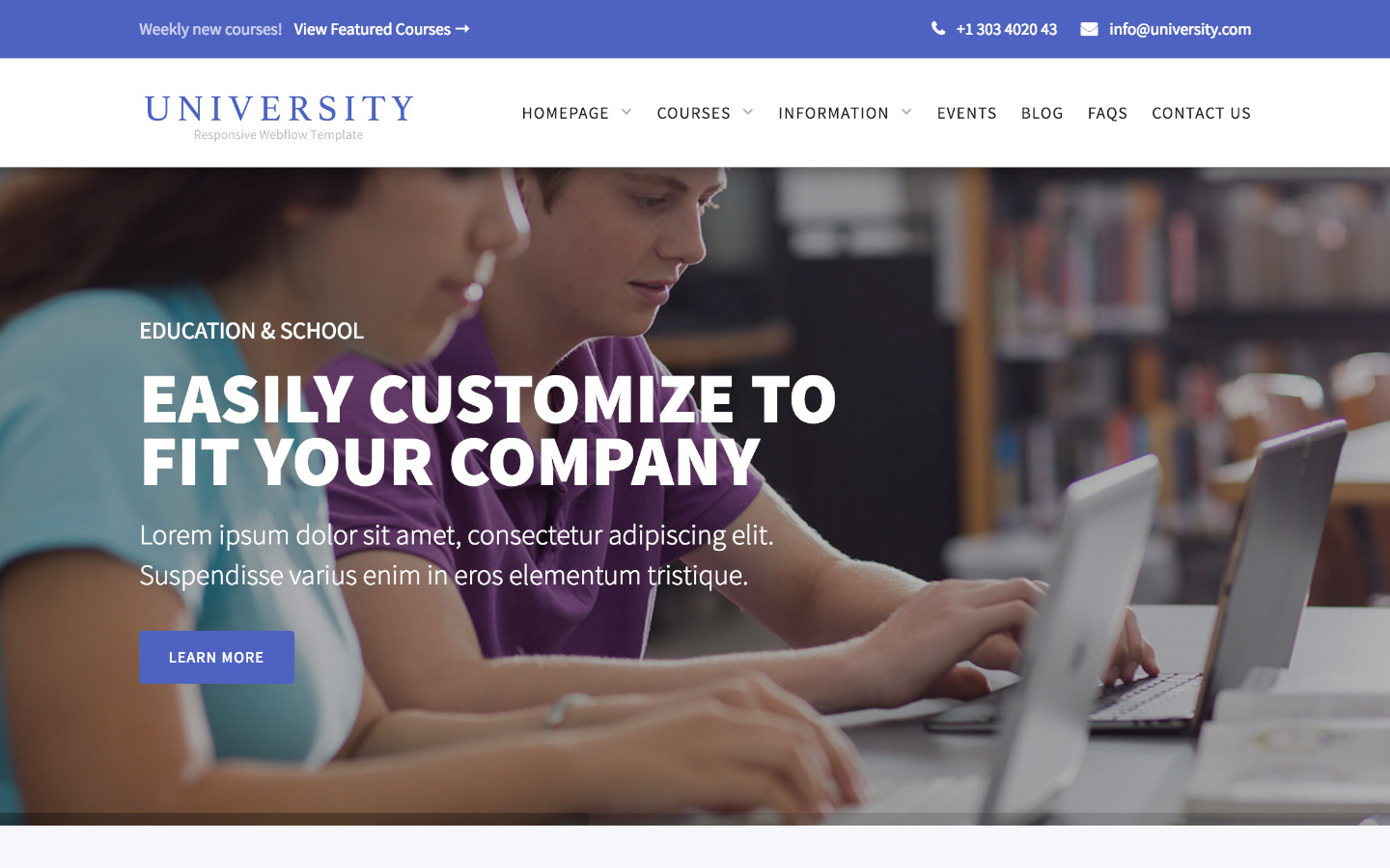 University education cms website template