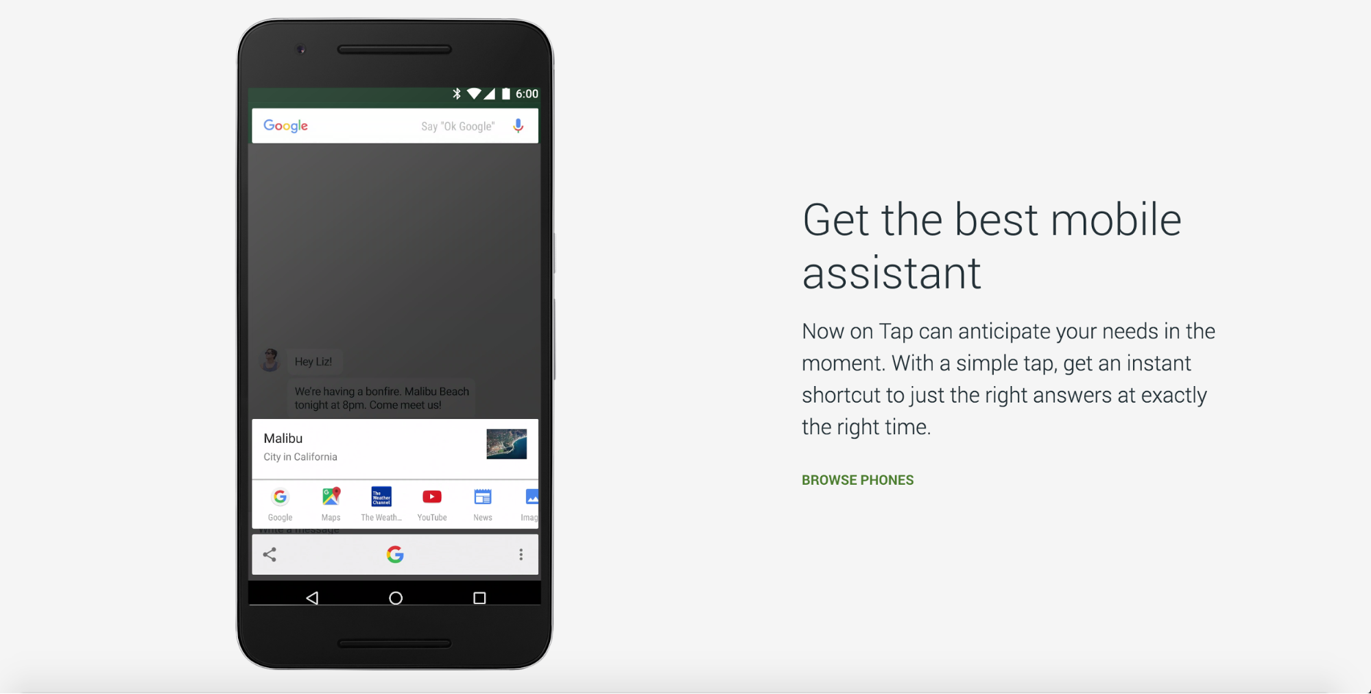 """A page from Google's Nexus site—the link copy reads """"browse phones"""""""