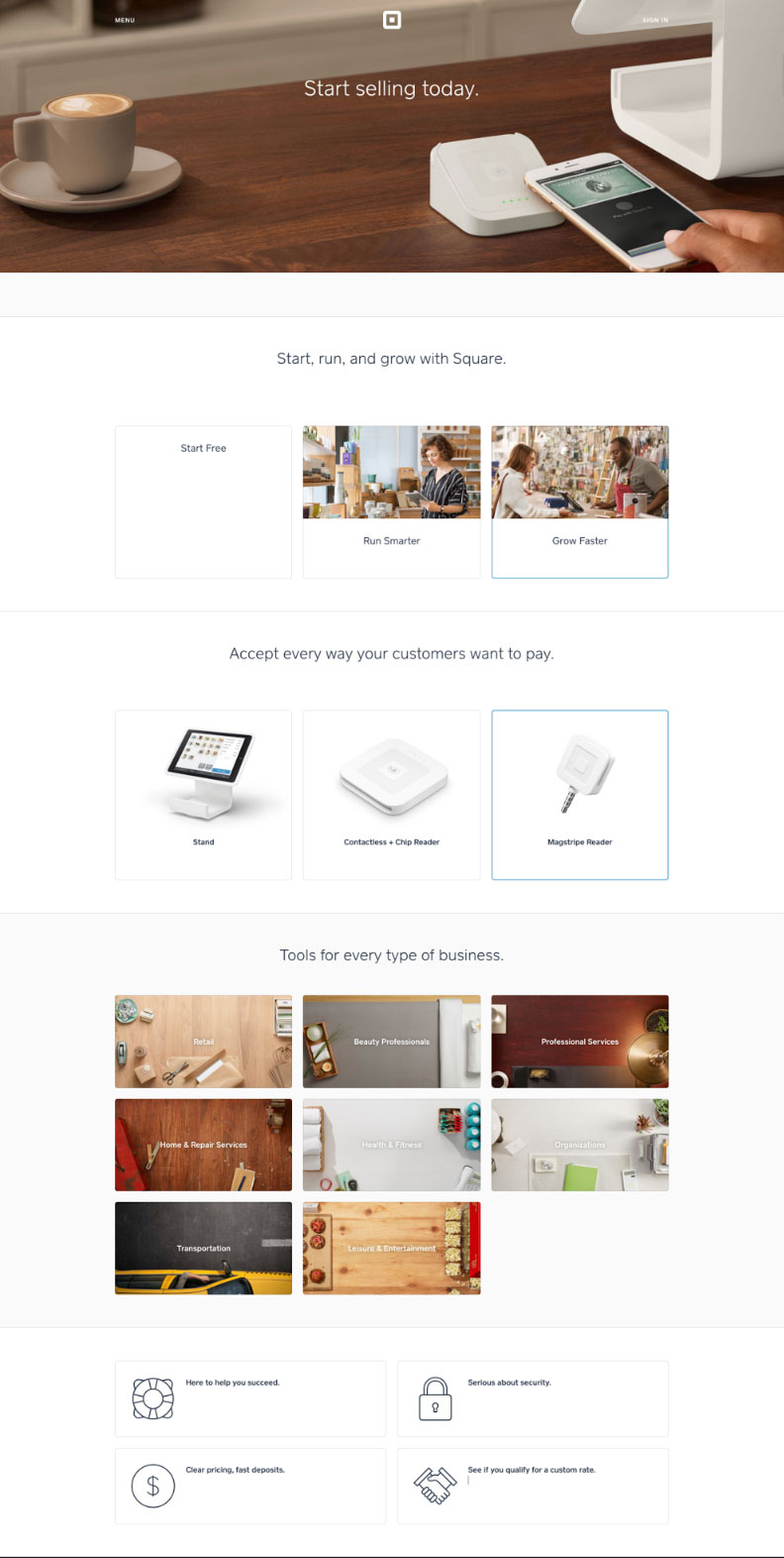 The Square website, with body copy removed.