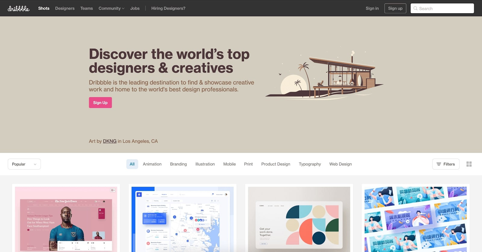 dribbble website inspiration