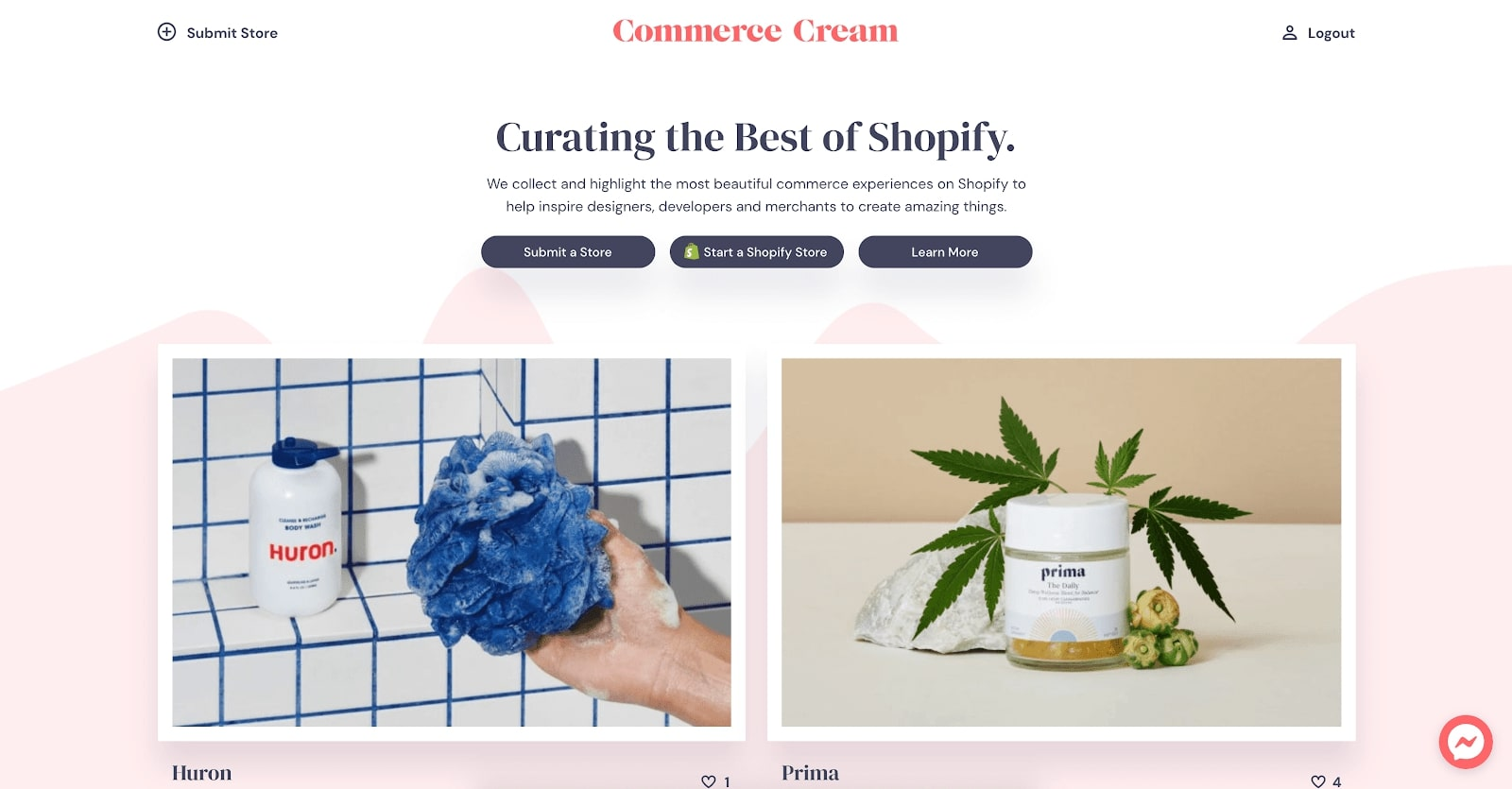 commerce cream shopify web designs