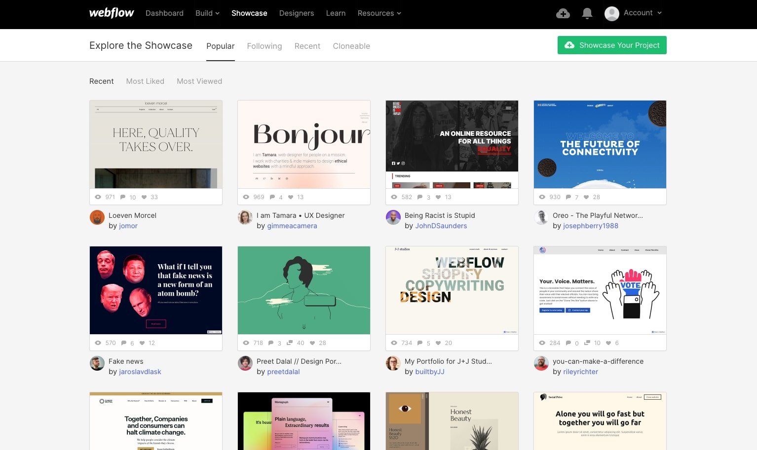 webflow showcase