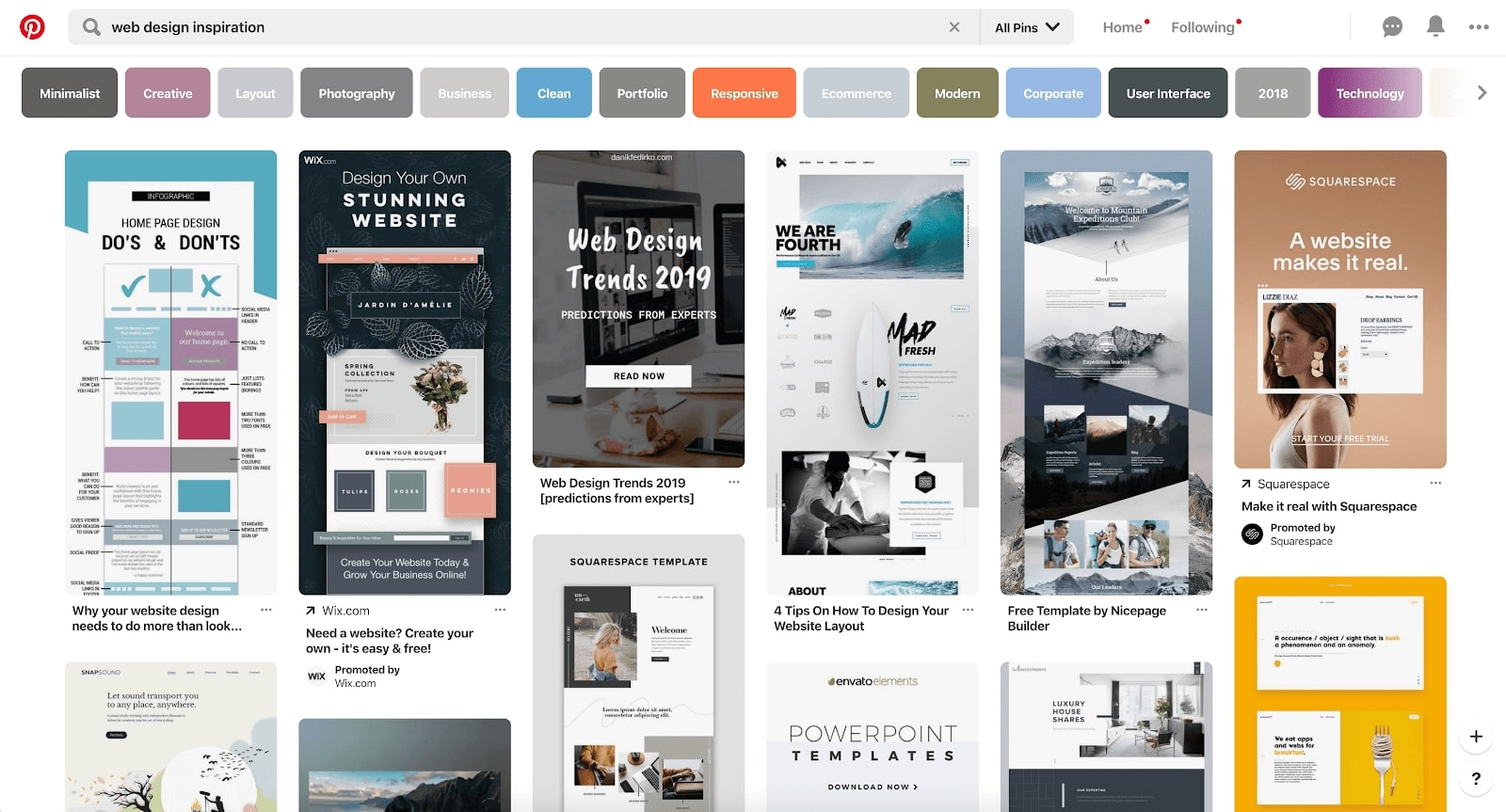 web design inspiration pinterest