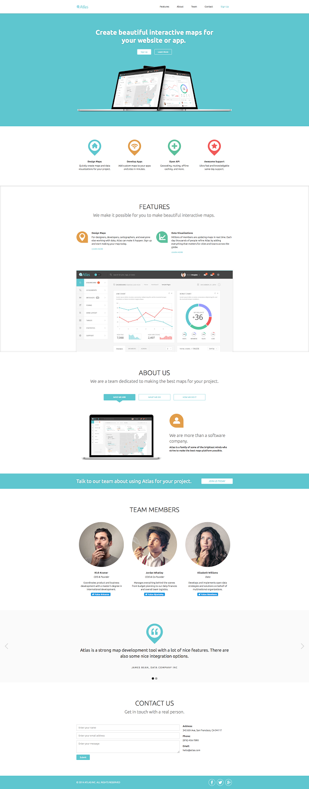 The clear, clean Atlast landing page template for Webflow
