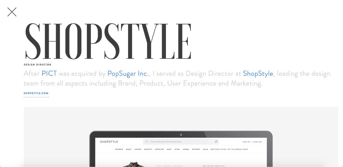 Portfolio item page headlines and subheads