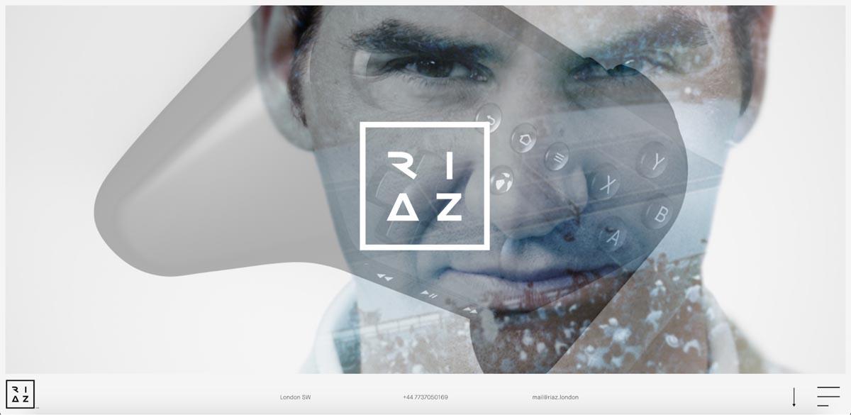 The hero section of Riaz Farooq's portfolio