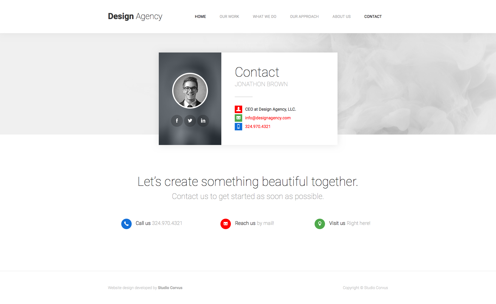 Corvus' contact page template