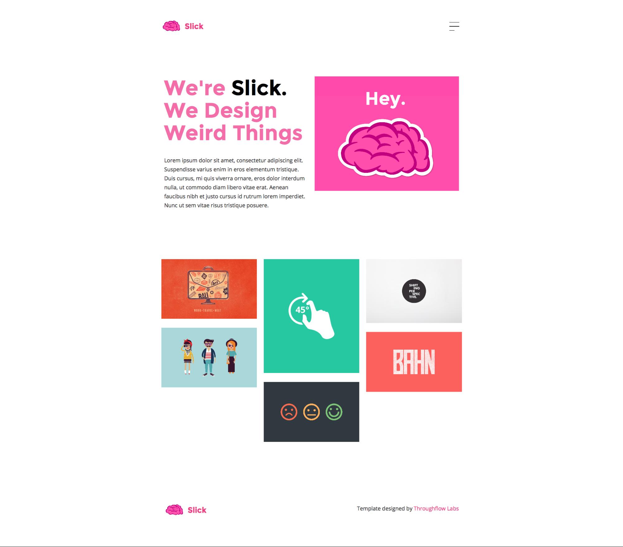 Homepage of the free Slick portfolio website template