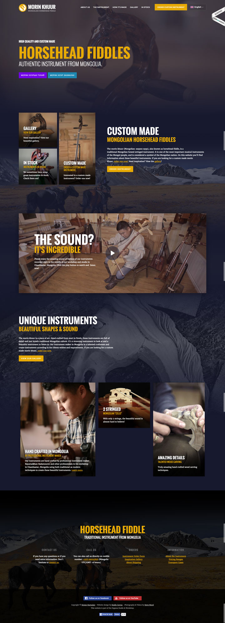Homepage of the Morin Khuur Horsehead Fiddles website