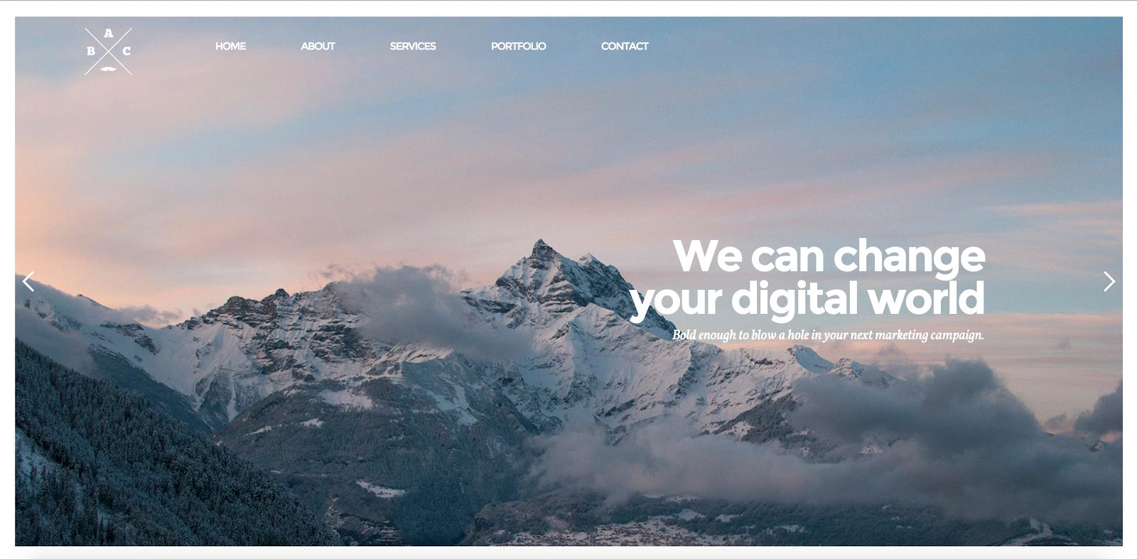 Bold headline + epic photo = Agency website template!