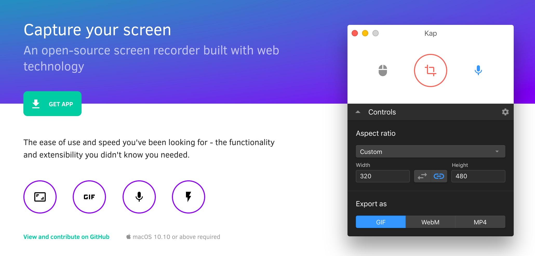 Kap is a lightweight, open-source screen recording app.