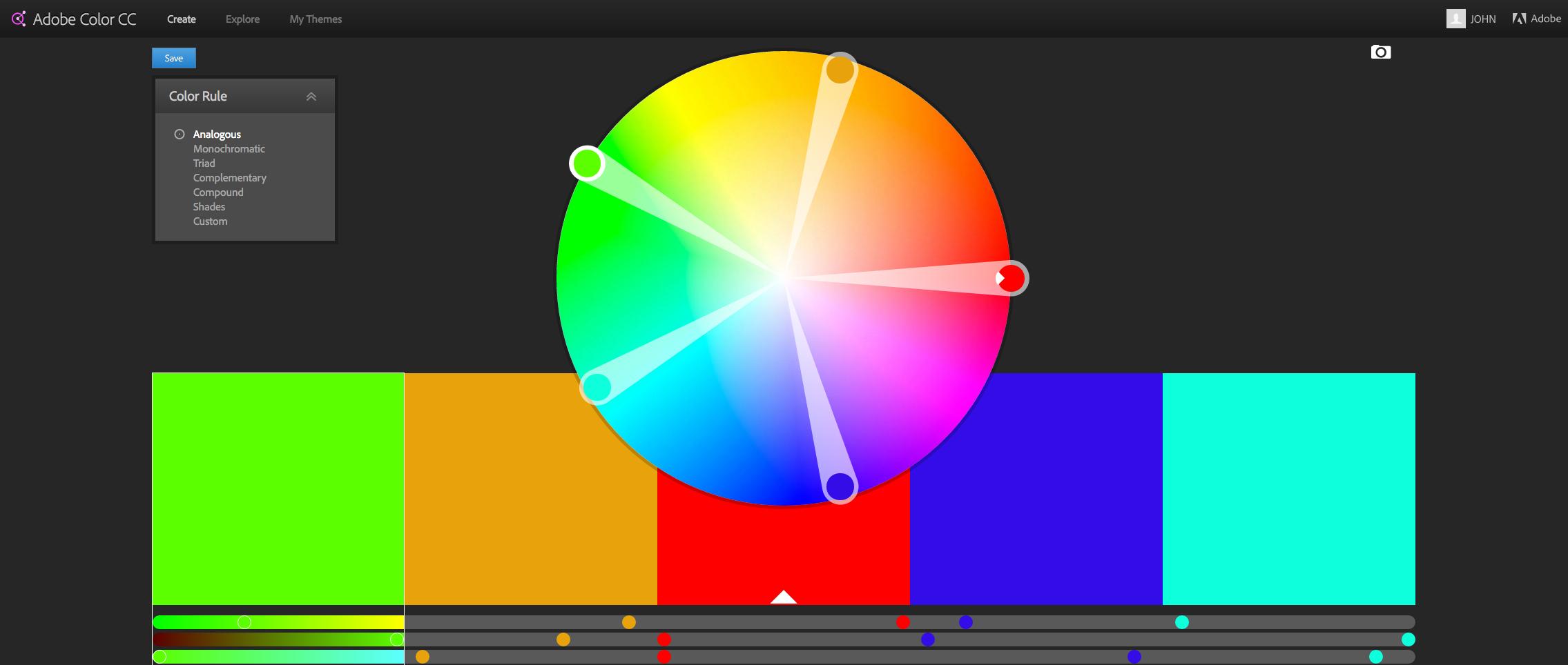 screenshot of Adobe Color CC