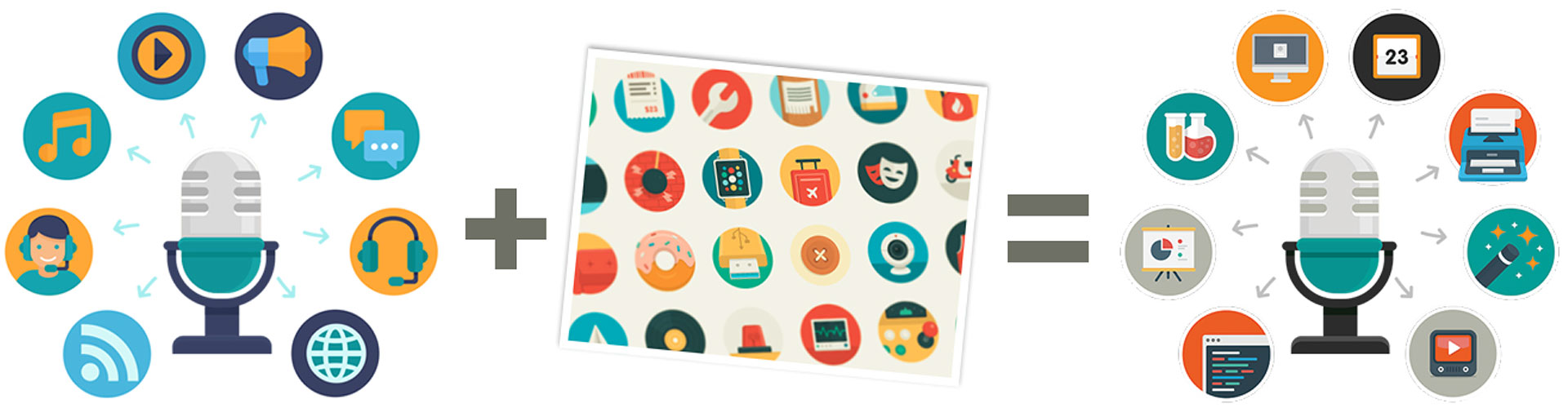 Customize stock illustrations with an icon set.