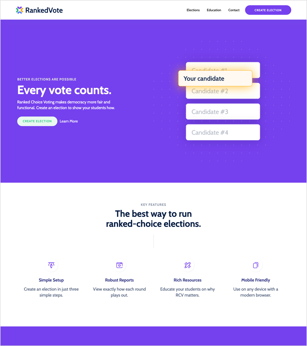 RankedVote's original homepage explaining their product
