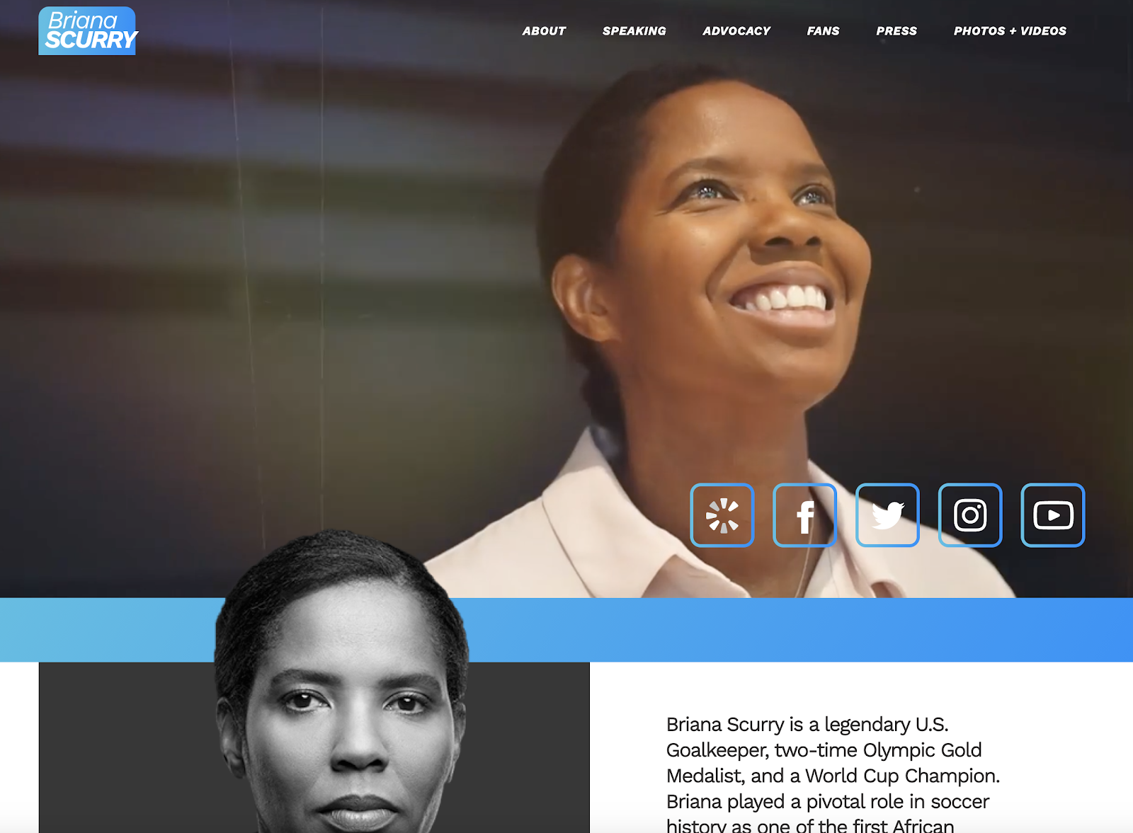 Home page of Briana Scurry's website.