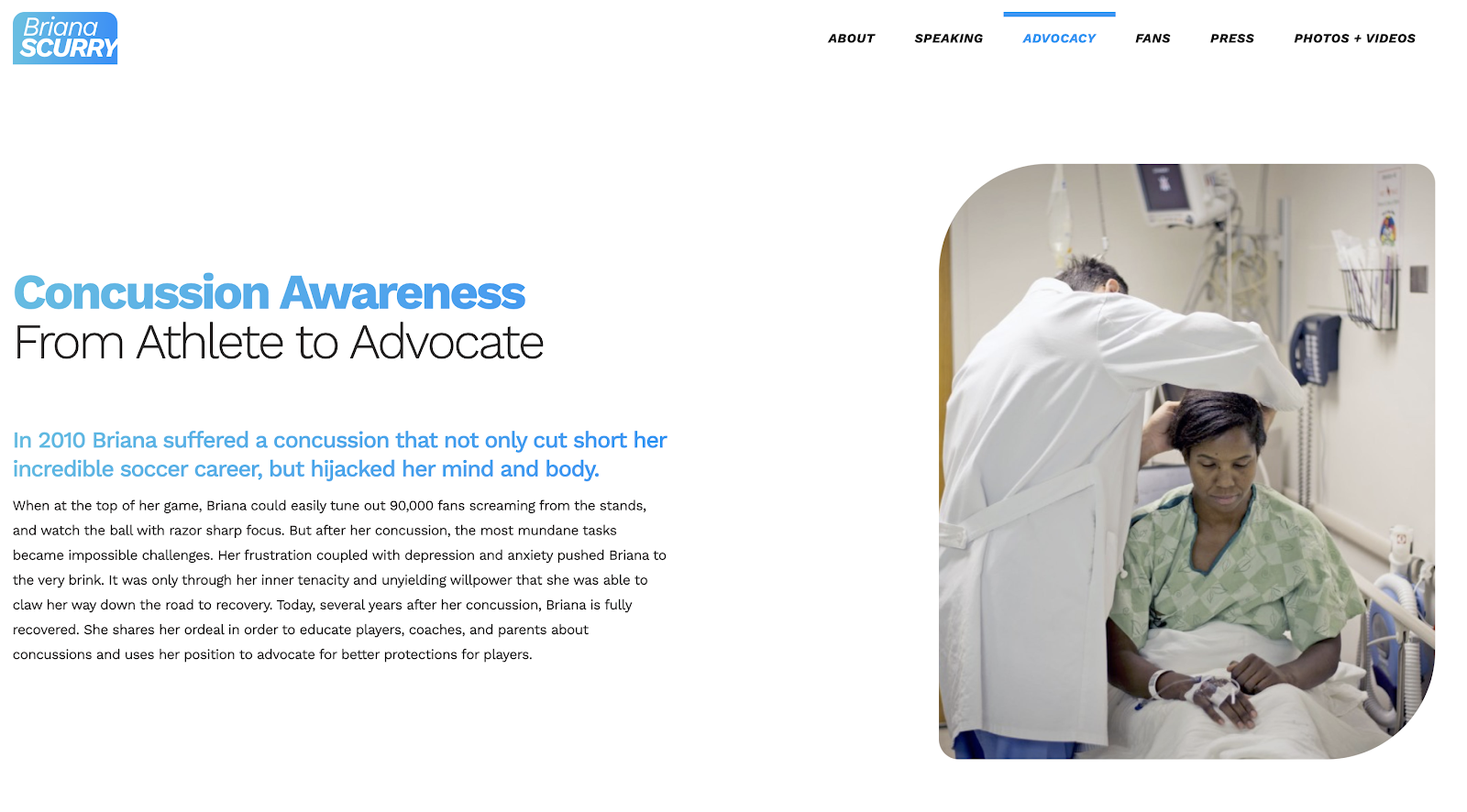 Hero section of the advocacy section of Briana Scurry's website, about concussion awareness.