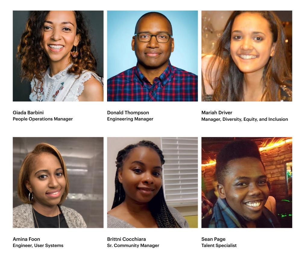Photos of members of Webflow's Black affinity group — Blackflow. Including: Giada Barbini, Donald Thomson, Mariah Driver, Sean Page, Brittni Cocchiara, Amina Foon