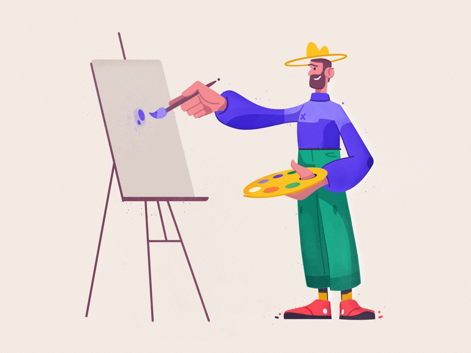 animated illustration of man painting on a canvas