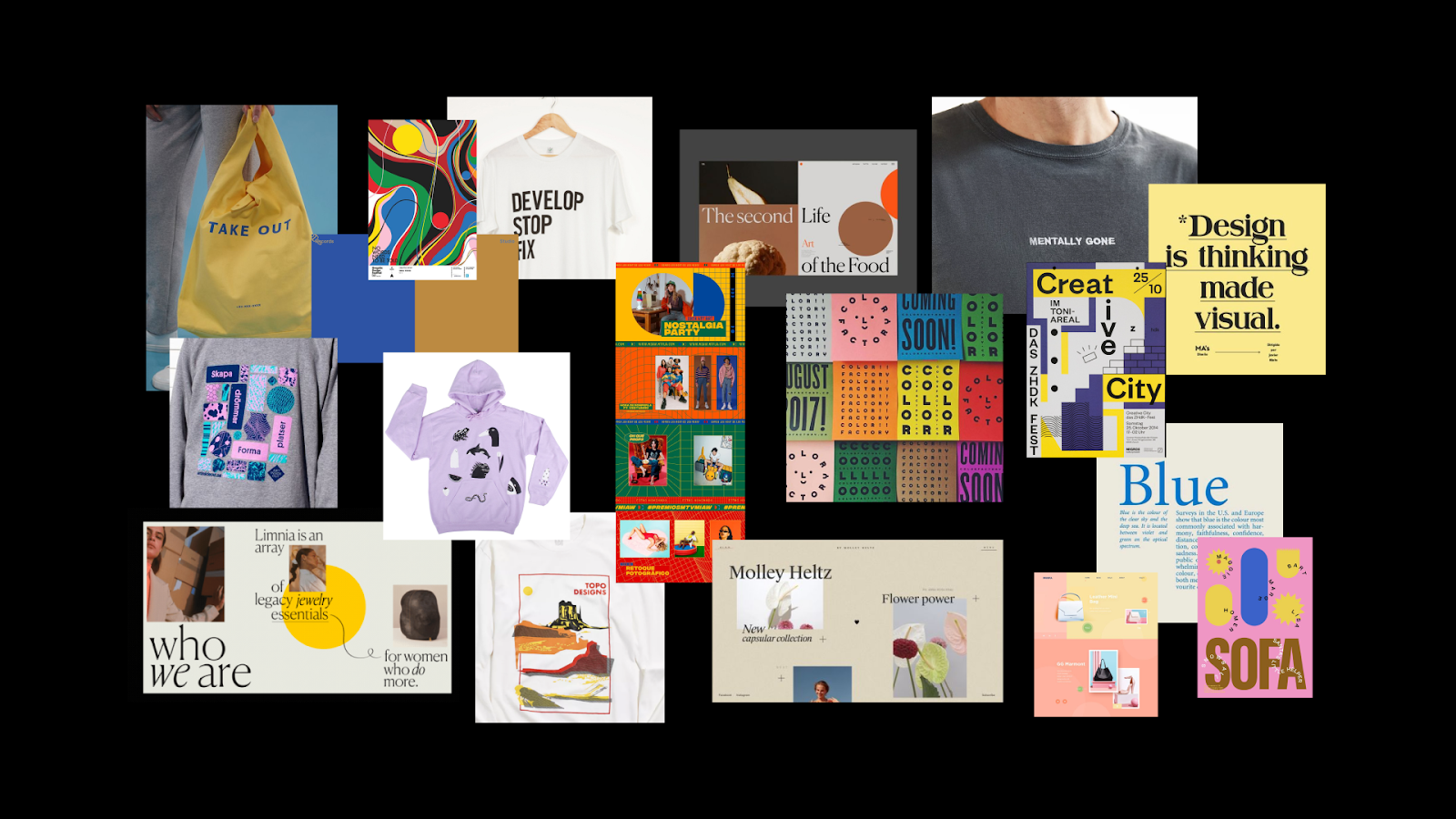 Various images of shirts, posters, and tote bags with different elements of typography, colors, and designs. A moodboard for inspiration for Webflow's merch store.