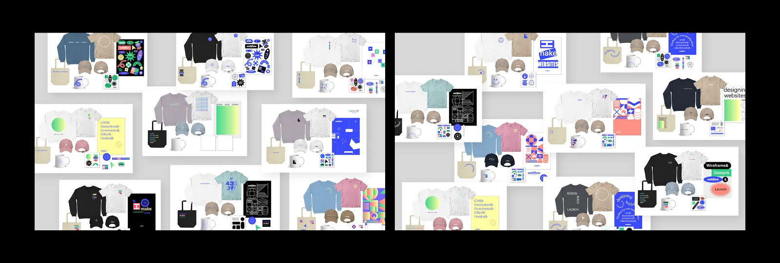 Images of different styles of shirts, sweatshirts, hats, and posters that we explored for the merch store.