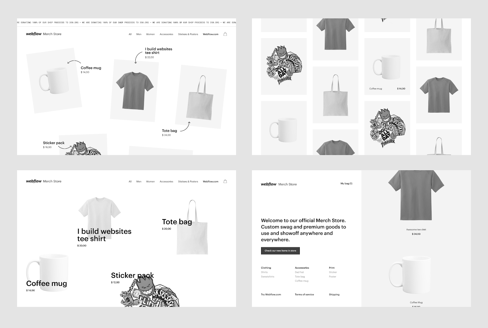4 different explorations of the webflow merch store that sells shirts, hoodies, posters.