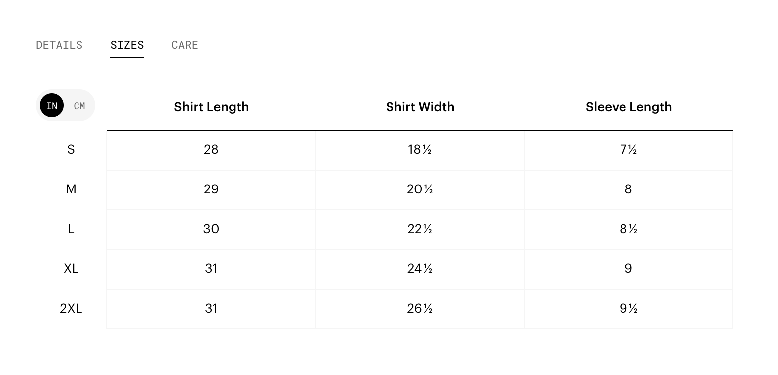 table showing shirt size in length, width, and sleeve length to show an example of how we built a table with flexbox.