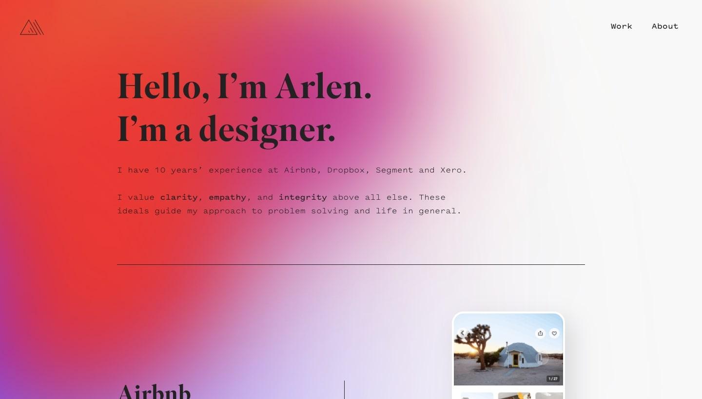 screenshot of arlen mccluskey's personal website