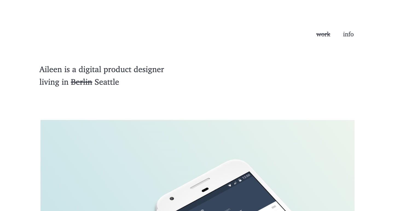 screenshot of aileen's personal website