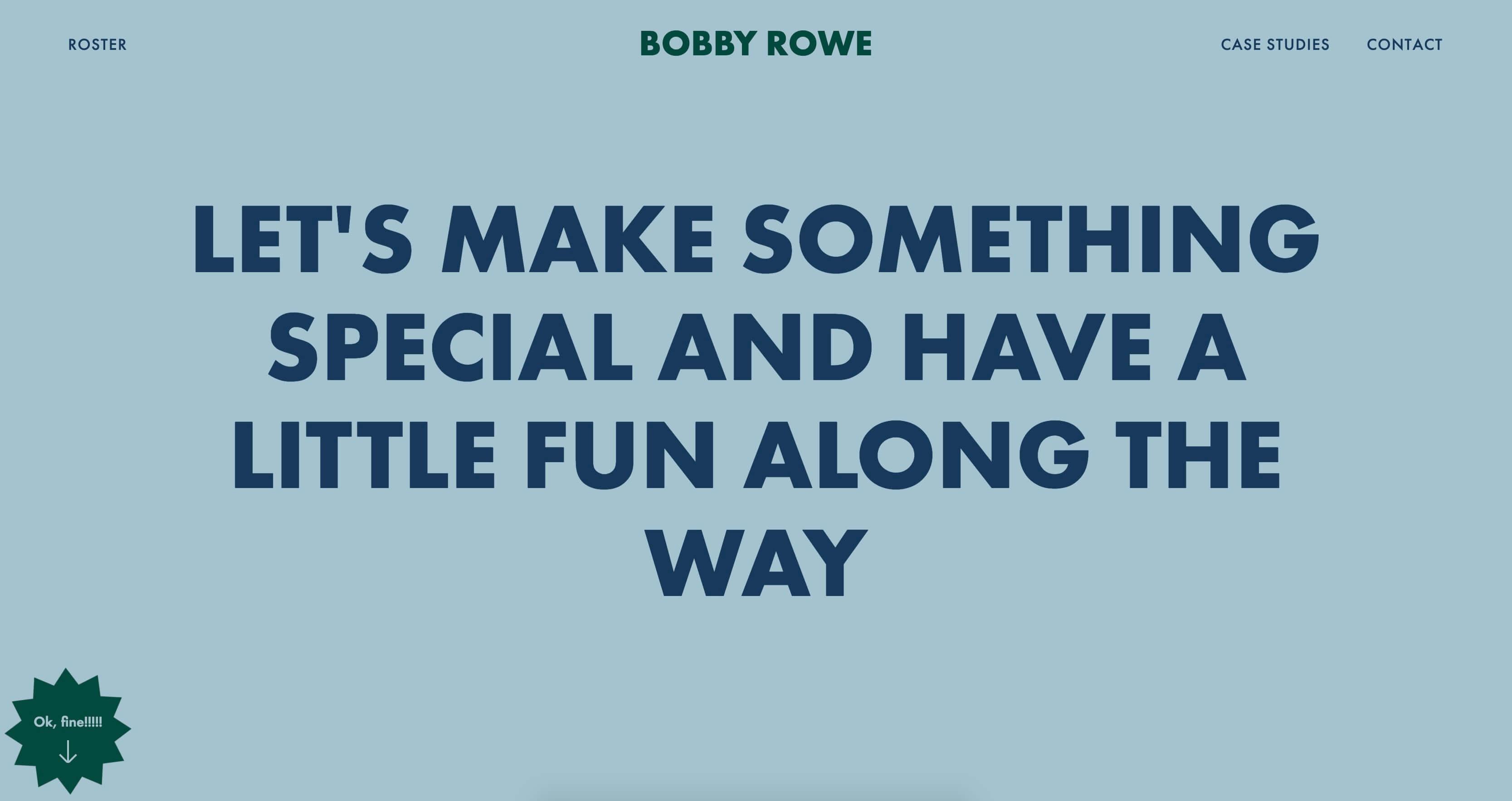 screenshot of Bobby Rowe's personal website